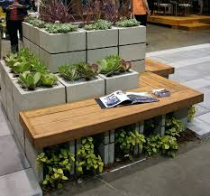 Cinder Block Decorating Ideas by Concrete Garden Bench Plans Interesting Landscape Timbers For