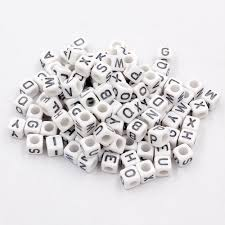 100 pcs acrylic mixed silver alphabet letter cube beads hole 3 8mm