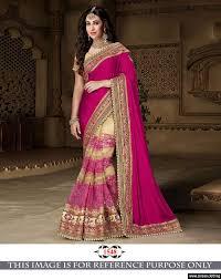 rani pink colour rani color thredwork u0026 sequnce u0026 handsilk gorget designer saree