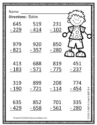 subtraction multi digit numbers within 1000 color your answers