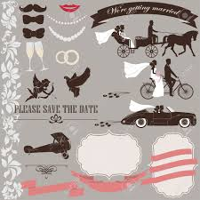 wedding invitation elements set vintage design tandem bicycle