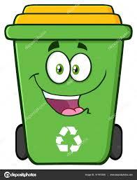 imagenes animadas sobre el reciclaje dibujos animados de bin de reciclaje verde feliz vector de stock