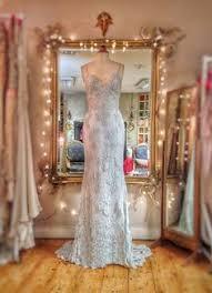 pale blue custom dyed french lace and silk chiffon wedding dress