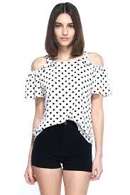 open shoulder blouse ribbon detail polka dot open shoulder blouse top edgelook
