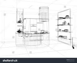 linear kitchen 3d linear kitchen interior stock illustration 288442568 shutterstock
