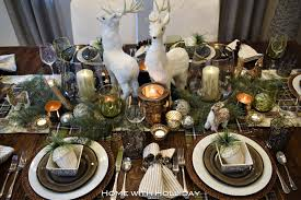rustic winter christmas table setting home with holliday