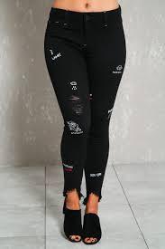American Flag Skinny Jeans Black Denim Graphic Print Distressed Mid Rise Skinny Jeans