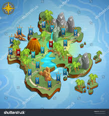 World Map Game Level Maps Game Example User Interface Stock Vector 630905834