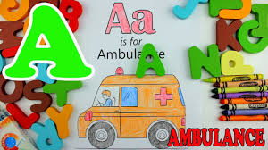 learn alphabet letter a ambulance coloring pages education