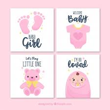 baby cards pink welcome baby cards vector free
