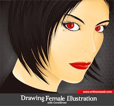 tutorial corel draw menggambar kartun drawing a female illustration with corel draw