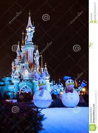 disneyland paris castle during christmas celebrations editorial
