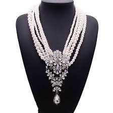 silver fashion statement necklace images European style big drop crystal white simulated pearl statement jpg