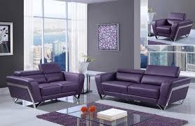Modern Leather Living Room Set Purple Modern Bonded Leather Sofa Set With Chrome Legs Gf7120