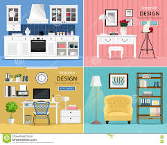 set of cute and colorful graphic interior design room types with