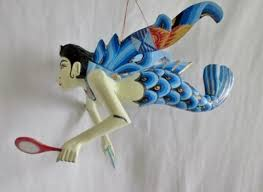 new 8 bali handmade wood winged goddess mermaid nautical ornament