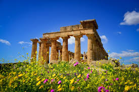 ancient temple hera beautiful ancient greece wildflowers sky