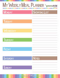 printable meal planner meal planner u0026 grocery shopping list meal