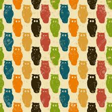 halloween background retro styled owls in a seamless repeat