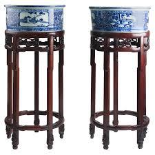 chinese porcelain planters circa 1900 rosewood original pedestals