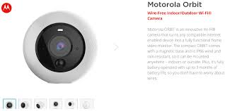 New Smart Home Products Motorola Lists The New Orbit Smart Camera In Its Website