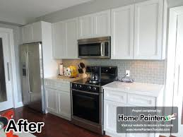 Paint Kitchen Cabinets Before After Spray Painting Kitchen Cabinets Before And After Refinishing Oak
