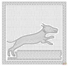 roman mosaic with a hunting scene coloring page free printable