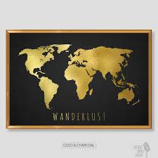 chic gold world map world map print black and gold home