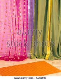 Sari Fabric Curtains Up Of Colorful Curtains Made From Sari Fabric Stock Photo