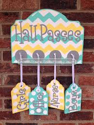 Bathroom Pass Ideas Passes Sign For Classroom Turquoise Yellow By Sparkledwhimsy