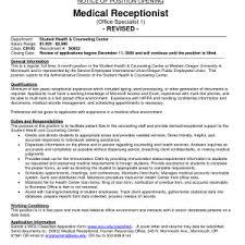 resume objective medical receptionist resume objective for medical receptionist receptionist cl park