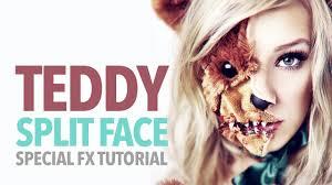 scary teddy bear split face halloween tutorial youtube
