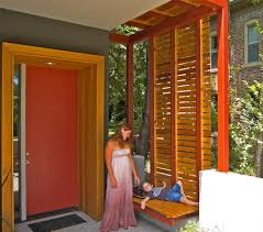 wooden front door with glass panels patio wood privacy screen entry modern with concrete floor etched