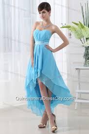 Light Blue Chiffon Dress A Line Baby Blue Chiffon High Low Sweatheart Dresses For Dama With