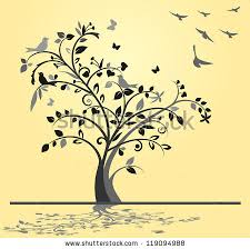 tree birds butterflies on yellow background stock illustration