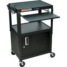 Laptop Desk Cart by Luxor Adjustable Height Steel A V Cart With Keyboard Avj42kbc