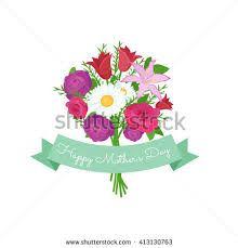 Flowers For Mom Festive Bouquet Roses Daisies Tied Yellow Stock Vector 413130763