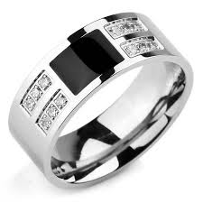 mens black wedding rings inblue men s stainless steel enamel ring band cz