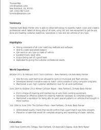 Painter Resume Template Innovation Ideas Painter Resume 5 Professional Auto Body Painter