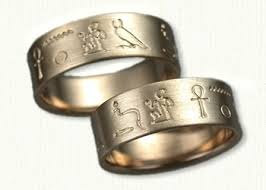 the story wedding band 14kt yellow hieroglyphics wedding band set custom