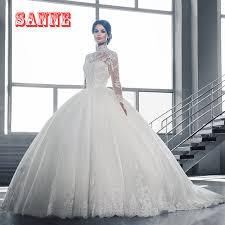 robe de mariã e avec dentelle mode 2017 à manches longues robe de mariage musulman col haut avec