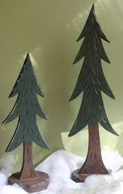 set of 3 carved wooden pine trees northwoods lodge cabin