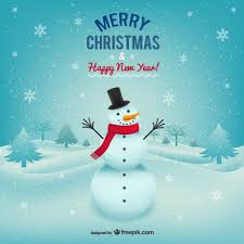 merry christmas card with snowman vector free download