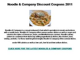 cuisines discount noodle and company discount coupons 2011 authorstream
