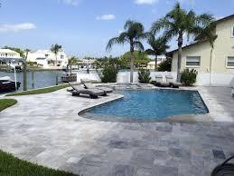 silver travertine paver pool deck stone mart