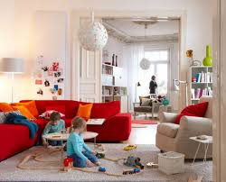 contemporary living room with red sofa beige rug dweef com