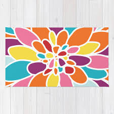 Orange And Turquoise Area Rug Flower Area Rug Abstract Flower Rug Orange Pink Yellow