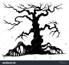 spooky silhouette halloween treehalloween tree by stock vector