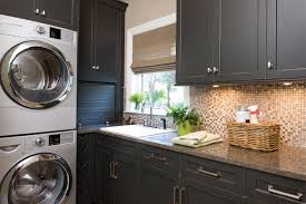 Countertop Clothes Dryer Design Ideas Terrific Black Laundry Room Cabinets With Mosaic