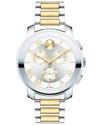 gold tone bracelet watches images Movado two tone stainless bracelet silver gold dial chronograph jpg
